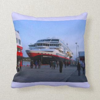 Exploring Norway, Cruise ship in Bergen Throw Cushions