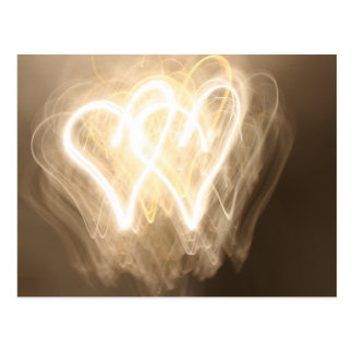 Exploring the light: hearts postcard