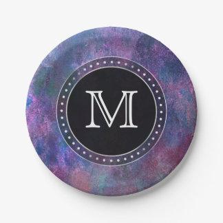 Explosive Party   Monogram Purple Pink Green Blue Paper Plate