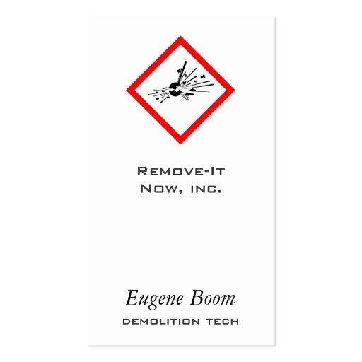 Explosive Warning Sign Business Card Templates