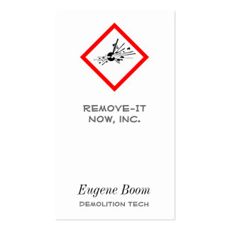 Explosive Warning Sign Pack Of Standard Business Cards