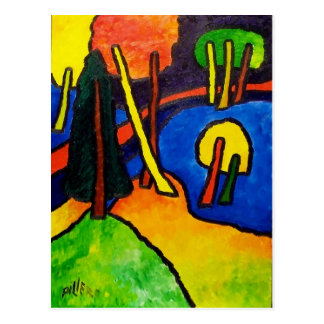 Expressionism Forest Postcard