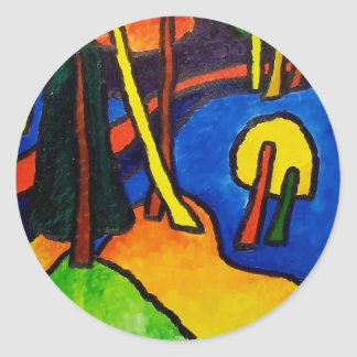 Expressionism Forest Round Sticker