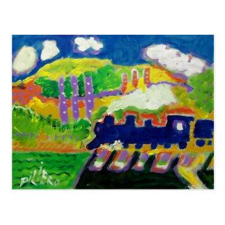 Expressionism train 4 postcard