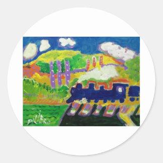 Expressionism train 4 round sticker