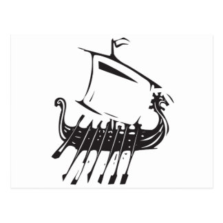 Expressionistic Viking Ship Postcard