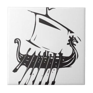 Expressionistic Viking Ship Small Square Tile