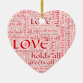 Expressions of unconditional love in word art ceramic heart decoration