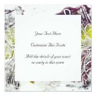 Expressive Abstract. Autumn Leaves. 13 Cm X 13 Cm Square Invitation Card