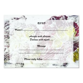 Expressive Abstract. Autumn Leaves. 9 Cm X 13 Cm Invitation Card