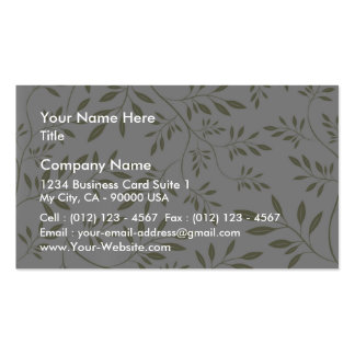 Expressive Olive green floral leaves we Business Card