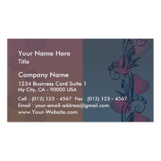 Expressive pink hearts and blue floral business cards