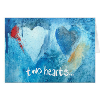 Expressive two hearts greeting card