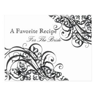 Exquisite Baroque B&W Bridal Shower Recipe Card