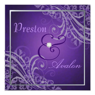 Exquisite Baroque Purple Scroll  Invitation