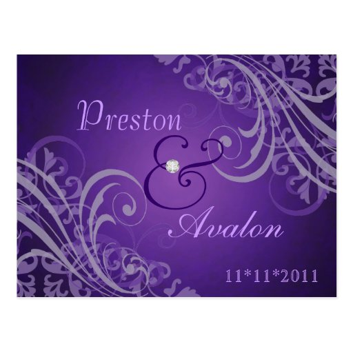 Exquisite Baroque Save The Date Purple Postcard