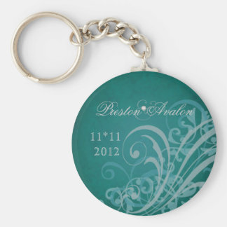 Exquisite Baroque Teal Scroll Keychain