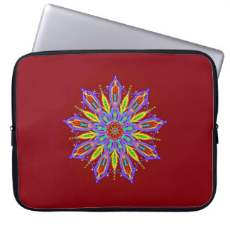 Exquisite beaded mandala star on deep red laptop computer sleeves