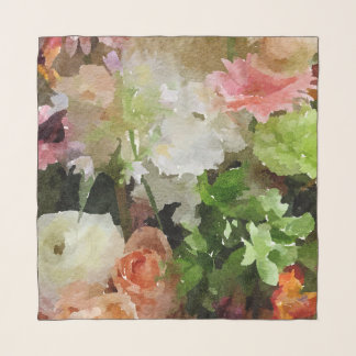 Exquisite Bouquet Peach,Pink and Green Watercolor Scarf