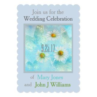 exquisite butterfly & daisy custom wedding 13 cm x 18 cm invitation card