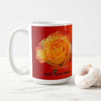 Exquisite Full Bloom Yellow N Flaming Orange Rose Coffee Mug