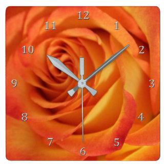 Exquisite Full Bloom Yellow N Flaming Orange Rose Square Wall Clock