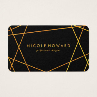 Exquisite Gold Lines Black Business Card