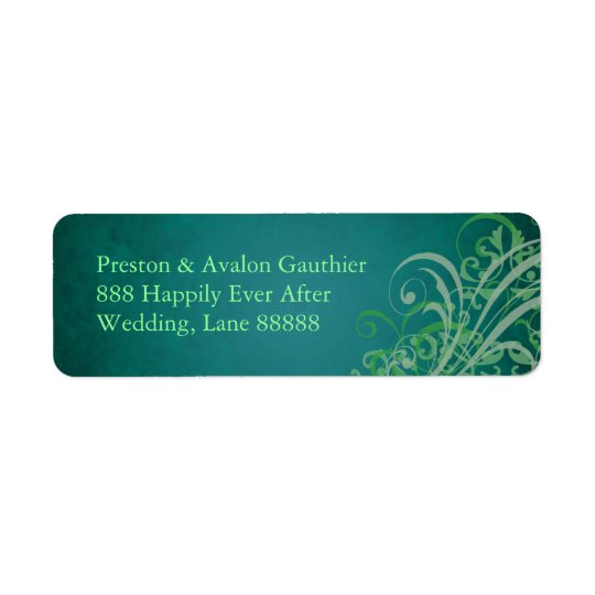 Exquisite Green Scroll Teal Wedding Address Label