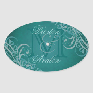 Exquisite Teal Scroll Monogram Teal Sticker
