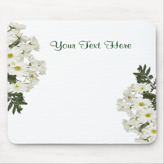 Exquisite White Daisies Design Mouse Pads
