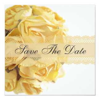 "Exquisite Yellow Roses Save The Date Announcement 5.25"" Square Invitation Card"