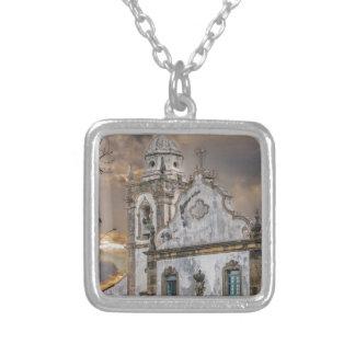 Exterior Facade Antique Colonial Church Olinda Silver Plated Necklace