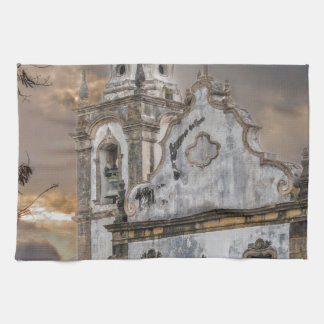 Exterior Facade Antique Colonial Church Olinda Tea Towel