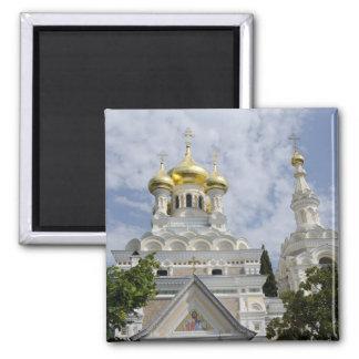 Exterior of Saint Alexander Nevsky Cathedral 2 Square Magnet