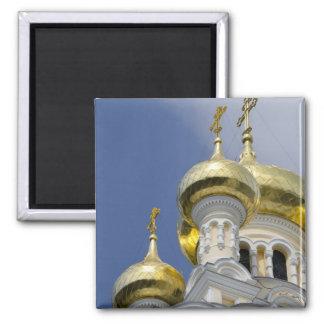 Exterior of Saint Alexander Nevsky Cathedral 3 Square Magnet