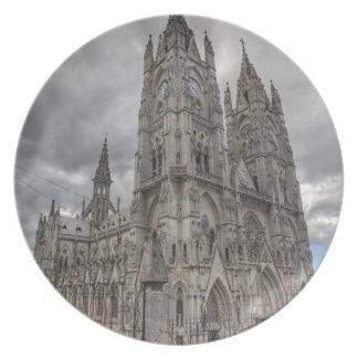 Exterior of the Basilica in Quito, Ecuador Party Plates