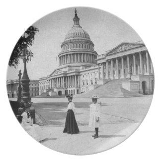 Exterior of the Capitol building with women Dinner Plates