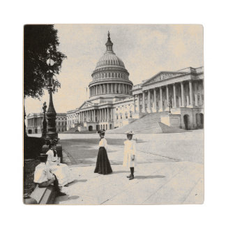 Exterior of the Capitol building with women Wood Coaster