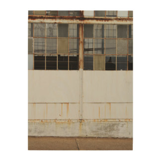 Exterior View of an Abandoned Factory Wood Wall Decor