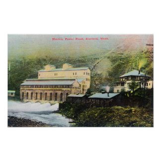 Exterior View of Electric Power Plant Print