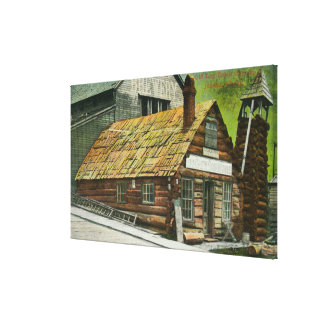 Exterior View of Log Cabin Soda Works, Church Stretched Canvas Prints