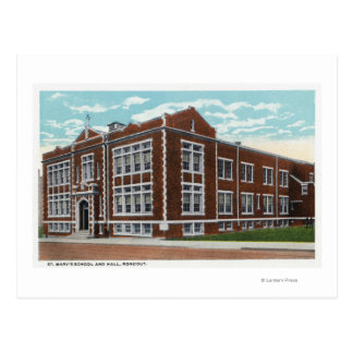 Exterior View of St. Mary's School and Hall Postcard