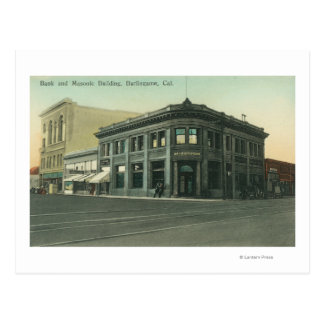 Exterior View of the Bank and Masonic Temple Postcard