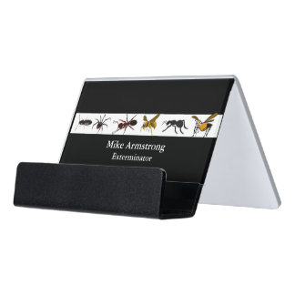 Exterminator Pest Control Insects Bugs Desk Business Card Holder
