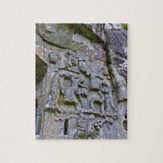 Externsteine, stone carving puzzle