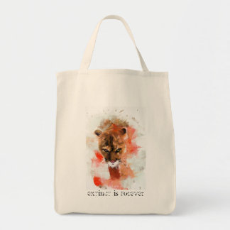 extinct is forever - cougar tote bag