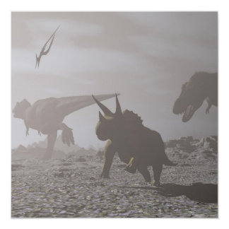 Extinction of dinosaurs - 3D render Card
