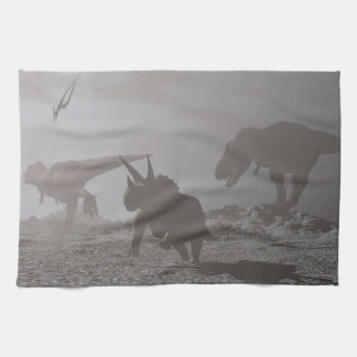 Extinction of dinosaurs - 3D render Tea Towel