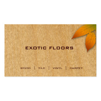 Extoic Wood Business Card with autumn Leaf birch