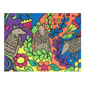 Extra Bright Whimsical Armadillos Postcard